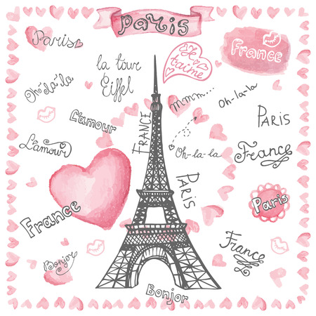 Love in Paris.Watercolor hearts,lettering.Hand drawn painting Illustration