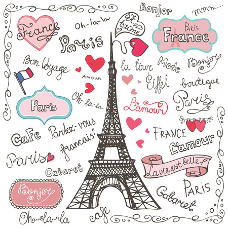 romantic getaway: Set of Paris symbols,lettering.Hand drawn doodle sketchy Illustration