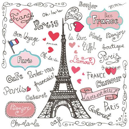 Zestaw symboli Paryża, lettering.Hand rysowane doodle szkicowy Ilustracje wektorowe