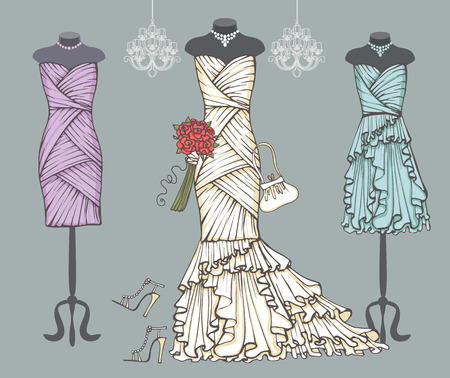 bridesmaid: White wedding dress,bridesmaid dresses.Bridal set