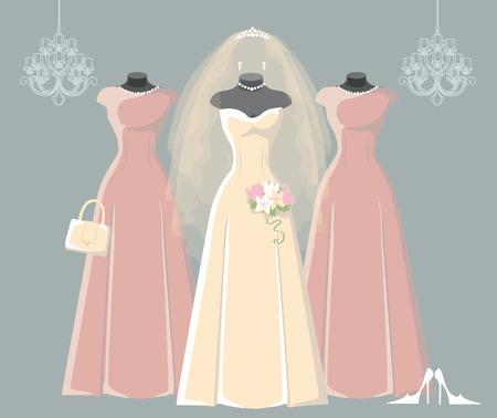 bridesmaid: Wedding bridal and bridesmaid dresses set Illustration