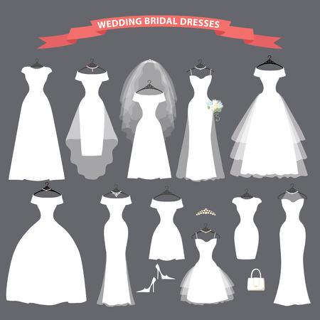 Uppsättning av brud bröllopsklänningar hänga på band Illustration