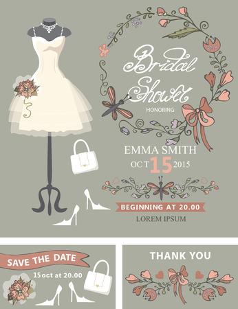 Bridal shower template set .Bridal dress,floral decor Reklamní fotografie - 36296615