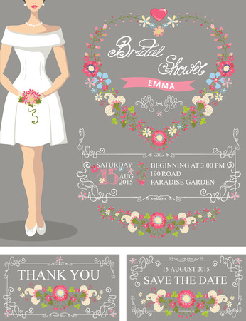 beautiful bride: Bridal shower set.Bride,floral wreath,decor Illustration