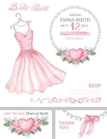 pink pearl: Bridal shower invitation set.Watercolor dress,floral wrea
