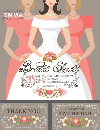 bridesmaids: Bridal shower invitation set.Bride,bridesmaids,floral decor