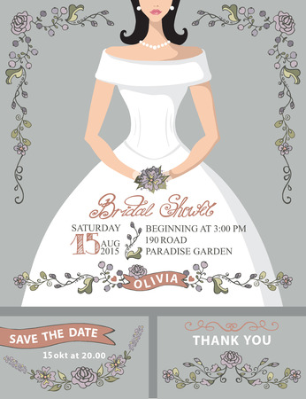 Bridal shower invitation set.Bride portrait,vintage floral decor Vector