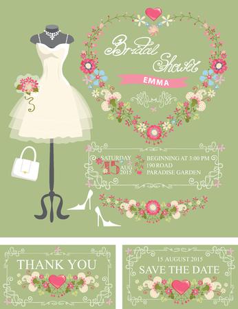 honoring: Bridal shower invitation set. Dress,floral decor Illustration