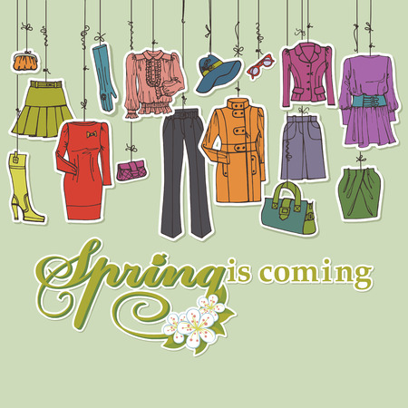 woman's clothing: Womans clothing and accessories hanging on ropes.Spring Illustration