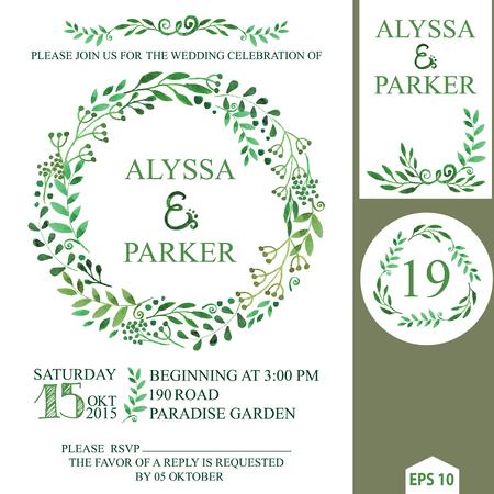 Wedding invitation with watercolor brunches wreath,decor.eps Vector