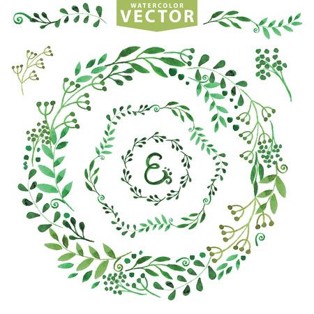 Watercolor krans set.Vintage bloemen lauweren takken Stockfoto - 36802040