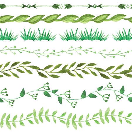 Aquarell nahtlose Grenzen set.Vintage floral grünen Zweigen Standard-Bild - 36802048