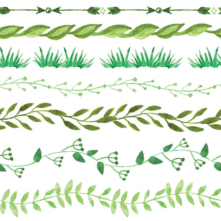 leaf line: Watercolor seamless borders  set.Vintage floral green branches
