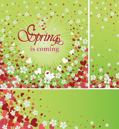 darts flying: Flying spring flowers and red hearts background Illustration