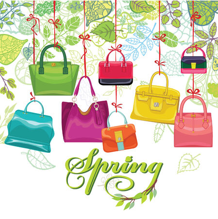 a bag: Fashionable colored womens handbags,spring leaves