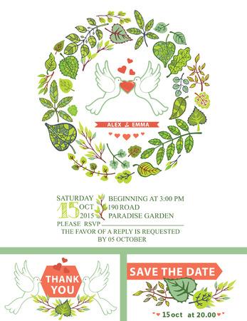 Cute wedding invitation.White pigeons,green leaves wreath Vector