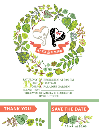 Cute wedding invitation with stylized heart,green leaves wreath Vector