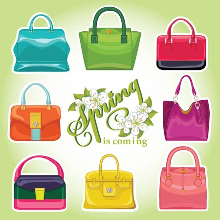 leather goods: Coloured fashion womens handbags.Spring is comming
