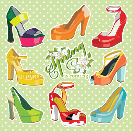 leather goods: Colorful fashion womens High heel shoes.Spring.Polka dot