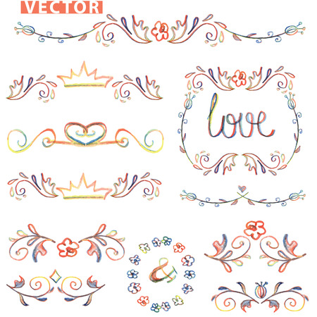 Doodle decor,border set.Colored watercolor,pencil hand sketched