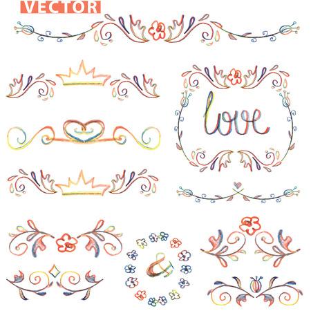 Doodle Dekor, set.Colored Aquarell Grenze, Bleistift Hand skizzierten Standard-Bild - 36803920