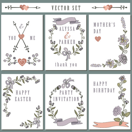 Vintage card set with hand drawing decor.Holiday Vector