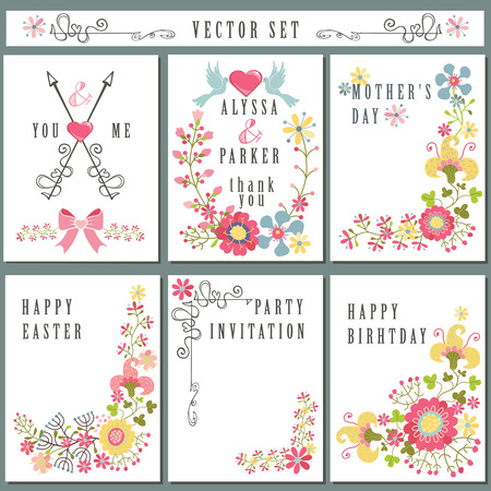 Vintage card set with floral decor.Holiday Vector