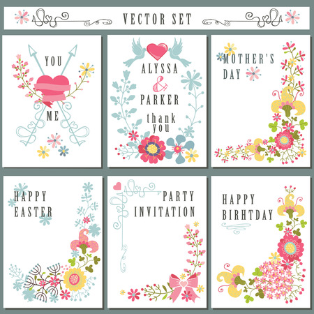 Vintage card set with floral decor.Cute Holiday Vector