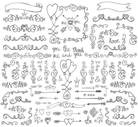 Doodle swirls,border,arrows,decor element.Love set