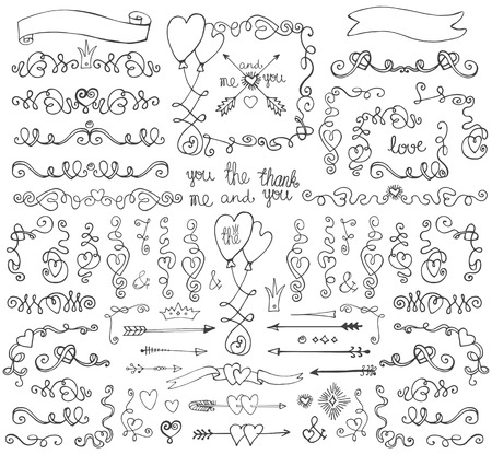 Doodle wervelingen, grens, pijlen, decor element.Love set
