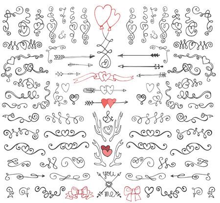 Doodle swirls,arrows,decor element.Love set
