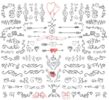 Doodle swirls,arrows,decor element.Love set