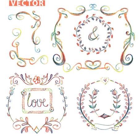 Doodle frame.Decor set.Colored pencil,watercolor sketchy Vector