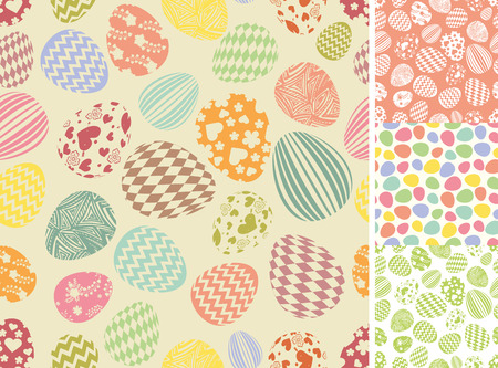 pastel background: Easter eggs seamless pattern set.Silhouette