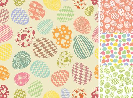 Easter eggs seamless pattern set.Silhouette