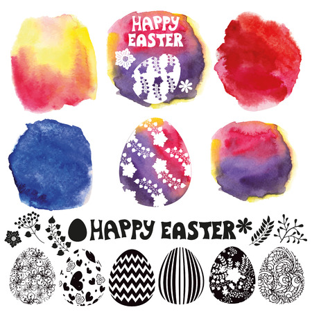 Easter egg set. Watercolor maker Vector