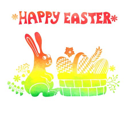 Easter card.Watercolor stamps,rabbit,egg in basket Vector