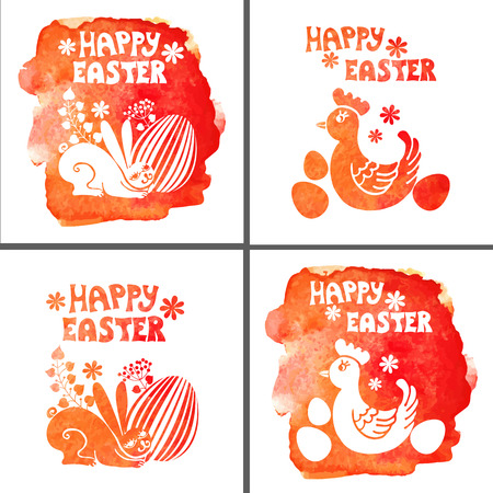 Easter card set.Watercolor stamps,rabbit,egg,chicken Vector