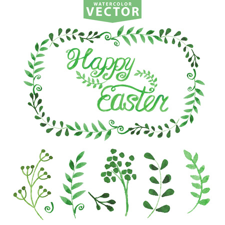 Watercolor Easter template.Word,leaves,branshes