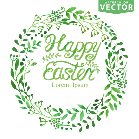 Watercolor easter Spring Background.Green branches wreath Vector