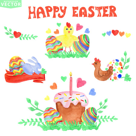 Easter greeting card.Watercolor ornament eggs group