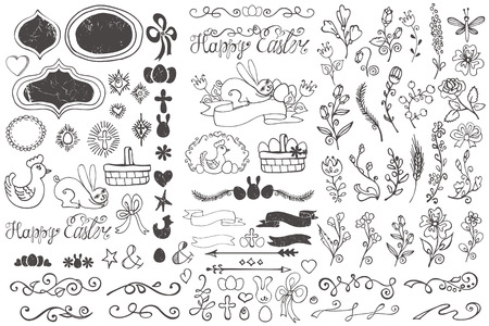 sketched arrows: Doodles easter decor elements set.Hand sketched flowers,swirl border,budges,arrows,ribbons for hand sketced logo.Easy to make design templates,invitations,logo.Holidays,baby design.Vector