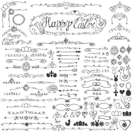 arco y flecha: Doodles pascua elementos de decoraci�n establecidos. Vectores