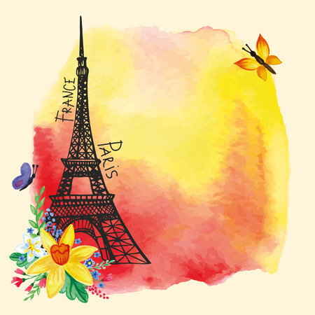 romantic getaway: Eiffel tower,Watercolor stain,Narcissus bouquet.Paris card Illustration