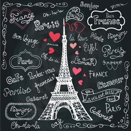 Set of Paris symbols,lettering.Hand drawn doodle sketchy.Chalkbo
