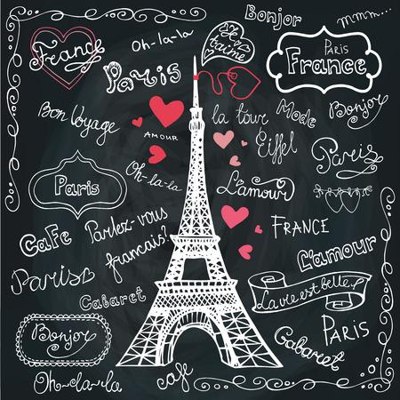 Set von Paris Symbolen, lettering.Hand gezeichnet Doodle sketchy.Chalkbo Standard-Bild - 38463768