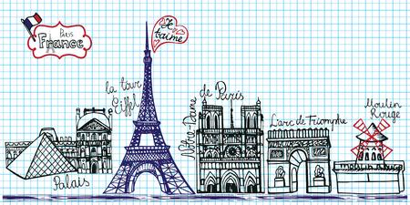 notepaper: Set of Paris landmark panorama.Doodle sketchy notepaper