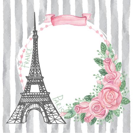 Paris vintage card.Eiffel tower,Watercolor rose,grey strips Vector