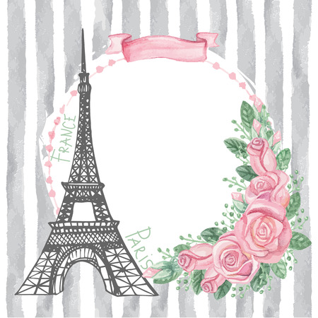 Paris vintage card.Eiffel tower,Watercolor rose,grey strips Illustration
