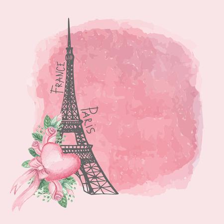 Paris vintage card.Eiffel toren, Aquarel roze roos, spot